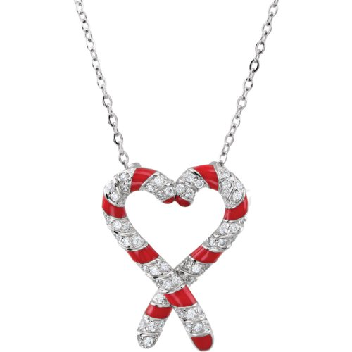 Rhodium Plate Sterling Silver 'The Candy Cane Legend' J for Jesus CZ Necklace, 18'' by The Men's Jewelry Store (for HER)