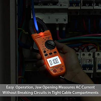 DC Spannung Strom Widerstand Tester Multimeter Hintergrundbeleuchtung Anzeige und Beleuchtungsfunktion Proster Strommesszange TRMS 6000 Counts mit 1 Paar Krokodilklemme Auto-ranging AC