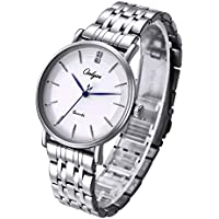 ONLYOU Mens Watches Business Casual Fashion Wrist Watch,Luxury Analog Quartz Wristwatches Stainless Steel Band Watch for Men (Silver)