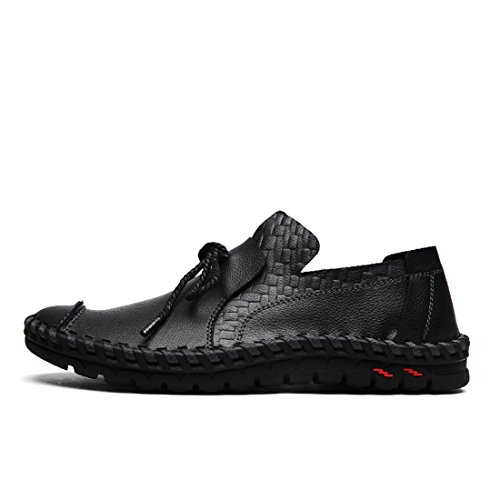 O&N Mens Casual Leather Slip On Moccasins Loafers Flat Driving Boot Shoes Black P9uShBI