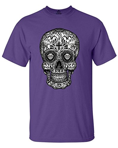 Sugar Water Purple Shirt - Shop4Ever Sugar Skull Black & White T-Shirt Day of The Dead Shirts X-Large Purple17037