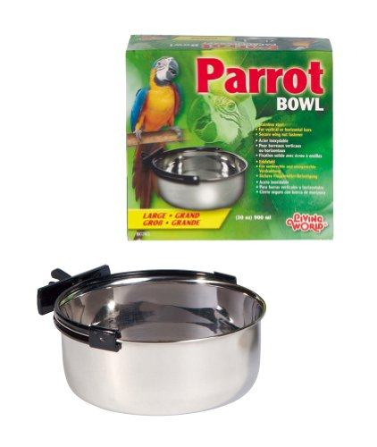 Living World Stainless Steel bowl, 30-Ounce Bird Stainless Steel Bowl