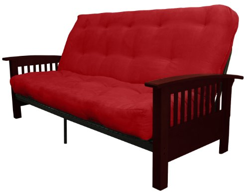 Epic Furnishings Brentwood Mission-Style 8-Inch Loft Inner Spring Futon Sofa Sleeper Bed, Full-size, Mahogany Arm Finish, Microfiber Suede Cardinal Red Upholstery (Sofa Mission Sleeper)