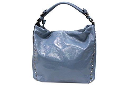 Borsa donna linea vernice modello sacca a spalla Lookat y1334 blu
