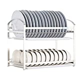 PM-Shelf Household 2-Layer Storage Rack Tableware Drain Rack Wall-Mounted 24.5 45/55 37cm (Color : A)
