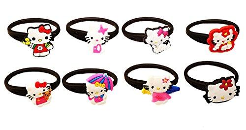 [AVIRGO 8 pcs Releasable Ponytail Holder Elastic Rubber Stretchable No-slip Hair Tie Set # 58-6] (Badtz Maru Costume)