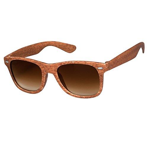 Silver Kartz Wooden Finish Brown Wayfarer Sunglasses (wy156)