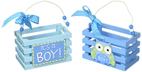 Blue Wood Crates/boxes with It's A Boy and Owl Design for Baby Boy Shower Favors -Set of 2 -
