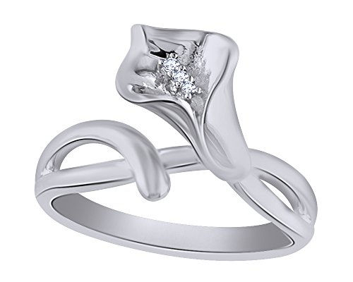 Wishrocks Round Cut Natural Diamond Accent Calla Lily Ring in 14K White Gold Over Sterling Silver ()