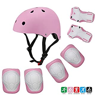 Kuulla Kids Toddler Protective Gear Set - 3 to 8 Years Old - Unisex for Girls and Boys - Pink Helmet and Pads - Elbow Knee Skateboard Gear - Other Extreme Sports Activities