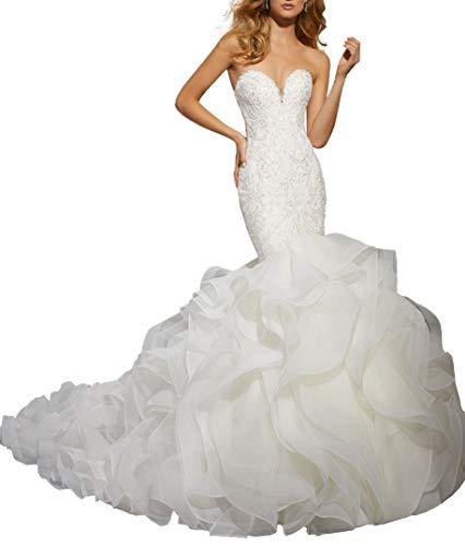 Wanshaqin Women's Mermaid Strapless Sweetheart Wedding Dresses for Brides Organza Ruffled Bridal Gown Long Train Ivory