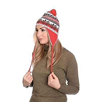 bc44bf5816b Martildo Knitted Fair Isle Fur Trim Pom Pom Hat with Ear Flaps ...