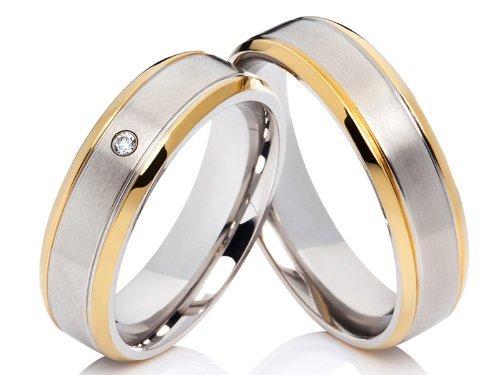 2 de alianzas y corazones Póster con anillos de compromiso alianzas de anillos de acero inoxidable