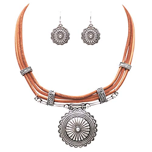 Rosemarie Collections Women's Western Navajo Style Statement Silver Tone Concho on Leather Necklace Earrings Set (Concho Collection)