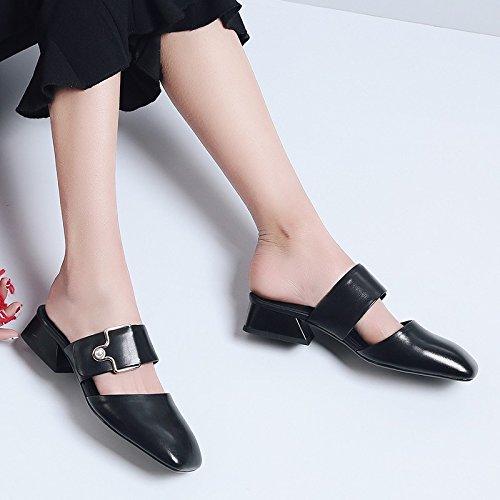 KPHY-cool Hausschuhe Leder Coole Schuhe Baotou Metall Schnalle flachem flachem flachem Absatz Freizeit 58291d