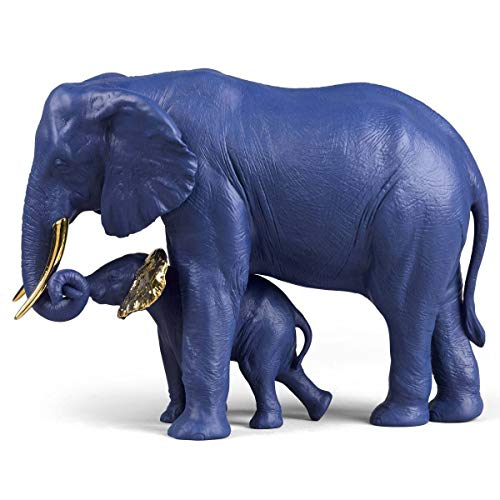 (Lladro Leading The Way Elephants Sculpture Blue Gold Limited Edition 01009402)