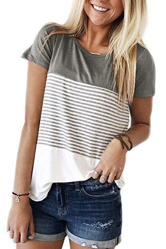 (ALIBIZIA Women's Casual Short Sleeve T Shirt Triple Color Block Stripe Top L)
