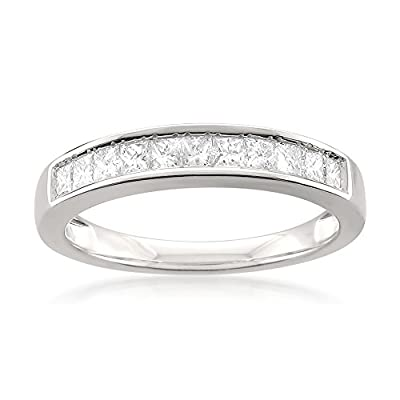14k White Gold Princess-cut 11-Stone Diamond Bridal Wedding Band Ring (1/2 cttw, J-K, SI1-SI2)