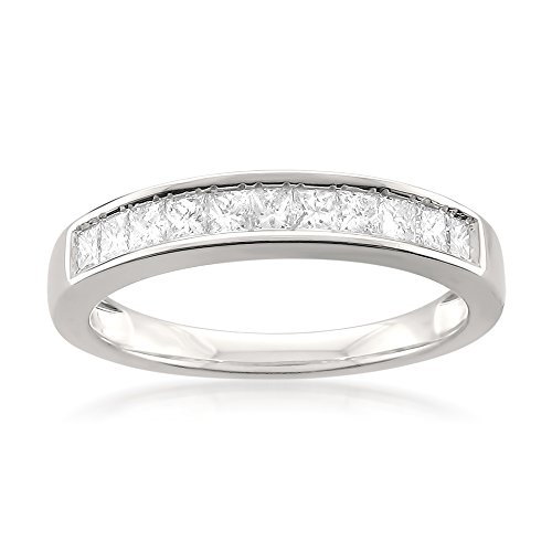 14k White Gold Princess-Cut 11-Stone Diamond Bridal Wedding Band Ring (1/2 cttw, J-K, SI1-SI2), Size 7
