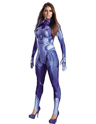 Disguise Women's Halo Cortana Adult Bodysuit Costume, Blue -
