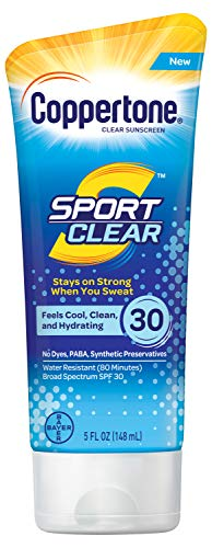 Coppertone Sport Clear SPF 30 Sunscreen Lotion, Water Resistant, Non-Greasy, Broad Spectrum UVA/UVB Protection, Clean, Cool, 5 Ounce ()