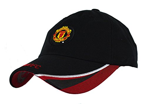 Manchester United Hat Cap Adjustable Rhinox Group Cap MUFC 100 % Cotton Garment Wash (BLACK - Shops Manchester Hat