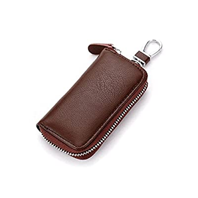 Unisex Mens Womens Premium Leather Car Key Holder Bag Keychain Case Wallet with 6 Hooks Zipper Closure, Brown: Clothing