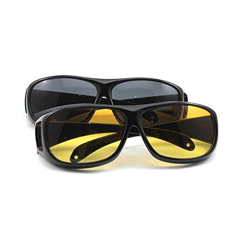 Hunt oro Unisex per proteggere gli occhi e per la guida notturna HD Vision Care Wrap Around occhiali da sole (vetro colore: giallo) HuntGold