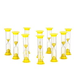 Sand Timer Set Yellow 10pcs Pack (1 Minute) - Set of One Minute Hour Glasses for Kids, Adults - Comes in a Premium Box by Jade Active