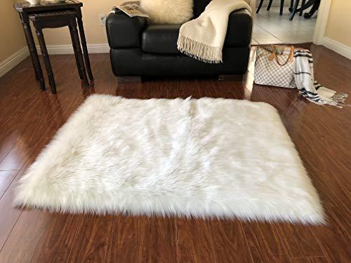 Lambzy Faux Sheepskin Classic Square Area Rug Plush Fur Premium Shag (48