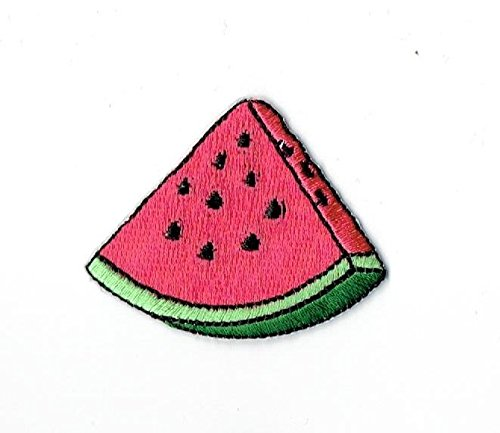 Pink Watermelon Slice Fruit Iron on Embroidered Patch Appliq