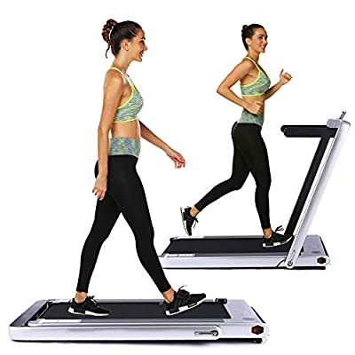 OppsDecor Under Desk Treadmill 2in1 Walking Running Machine Electric Treadmill Folding Pad Treadmill with Remote Control and Bluetooth Speaker for Home & Office Workout Indoor Exercise Machine
