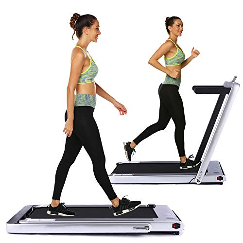 Under Desk Treadmill 2in1 Walking Running Machine Electric Treadmill Folding Pad Treadmill with Remote Control and Bluetooth Speaker for Home & Office Cardio Workout Indoor Exercise Machine (Silver)