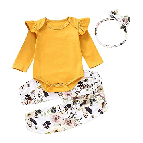 (Respctful✿Baby Infant Girls Long Sleeve Bodysuits with Floral Leggings and Headband Newborn 3Pcs Romper Bodysuit)