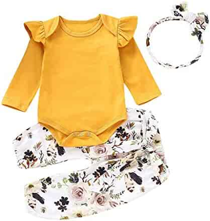 84331e33a 3PC Baby Boys Girls Clothes Set Ruffle Long Sleeves Cotton Romper  Tops+Floral Pant+
