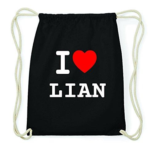 JOllify LIAN Hipster Turnbeutel Tasche Rucksack aus Baumwolle - Farbe: schwarz Design: I love- Ich liebe