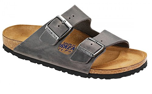 Birkenstock Unisex Arizona Iron Oiled Leather Sandals - 40 M EU/9-9.5 B(M) US Women/7-7.5 B(M) US Men ()