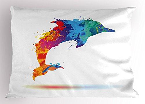 Ambesonne Dolphin Pillow Sham, Multicolored Animal Design Watercolor Pattern Vibrant Ocean Mammal Image Print, Decorative Standard King Size Printed Pillowcase, 36 X 20 inches, Multicolor by Ambesonne