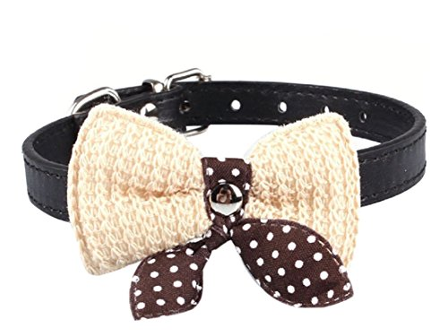 1Pc Supreme Popular Pet Bow Collar Adjustable Sweet Polka Dot Necklace Color Black - Asian Costume Australia