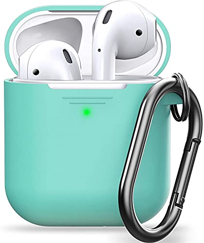 iwon Silicone Shock Proof Protection Sleeve Skin / Tough Cover Case Compatible with AirPods (2 & 1) /Case Cover for AirPods Wireless Headset Headphones Earphone(Device Not Included) (Mint Green)