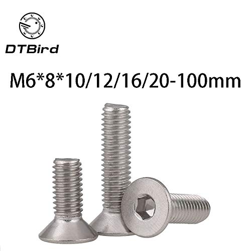 1pc 304 Stainless Steel DIN7991 Countersunk Head Flat Head Screws Socket Head Cap Screws M6810//12//16//20-100mm