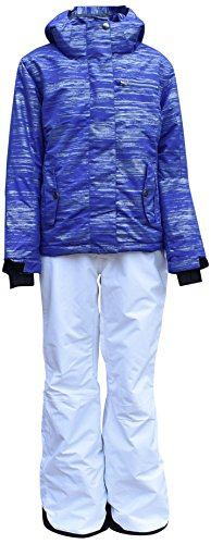 Pulse Big Girls Youth 2 Piece Snowsuit Ski Jacket Snow Pants Glitter (Large (14/16), Purple/White) by Pulse