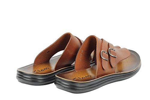 Mens Genuine Polished Leather Sandals Double Buckle Walking Beach Slippers Black Brown Tan Brown JCm96