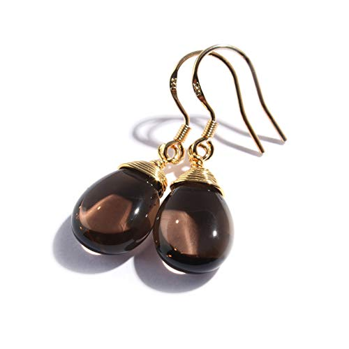 Scutum Craft Natural Stone Dangle Drop Earrings with Gold Plated Wire Wrap and 925 Sterling Silver Hook Jewelry for Women (Smoky Quartz Water Drop) ()