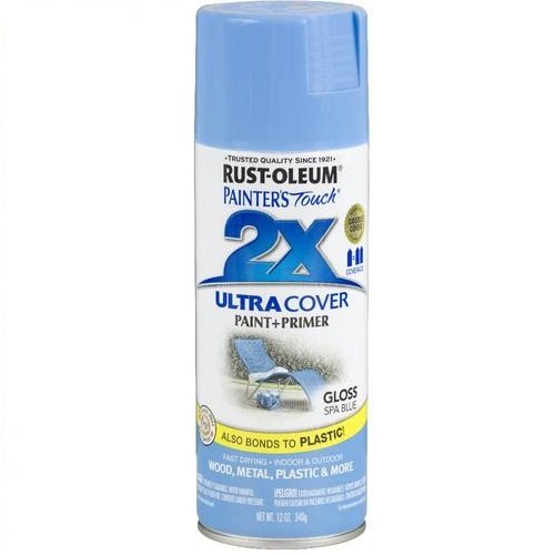 - Rust-Oleum 249093 Painter's Touch 2X Ultra Cover, 12-Ounce, Spa Blue