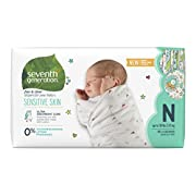 Seventh Generation Baby Diapers, Free & Clear for Sensitive Skin with Animal Prints, Newborn, 144 count (Packaging May Vary)