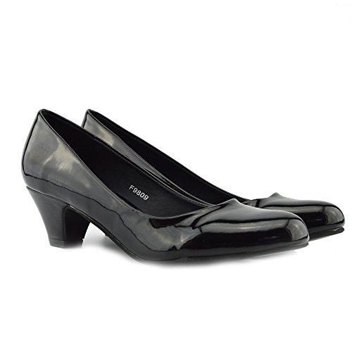 Verni Verni Chaussures Bloc Femmes En Pied Noir Noir Cuir Puce Chaussures Talon Coup À Mocassins Bureau De Molletonnée Bas qTBYRF