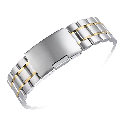 22mm Men's Luxury Two Tone Silver and Gold Metal Watch Bands Replacements with Straight ends Oyster Style