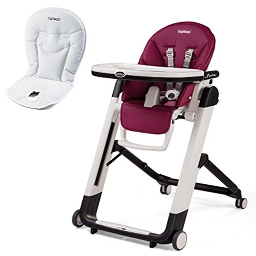 Peg Perego Siesta High Chair With Peg Perego Booster Cushion (Berry)