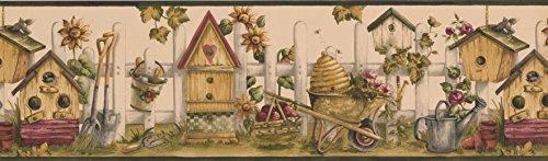 Wallpaper Border - Black Cream Bird House Garden Prepasted Wall Border